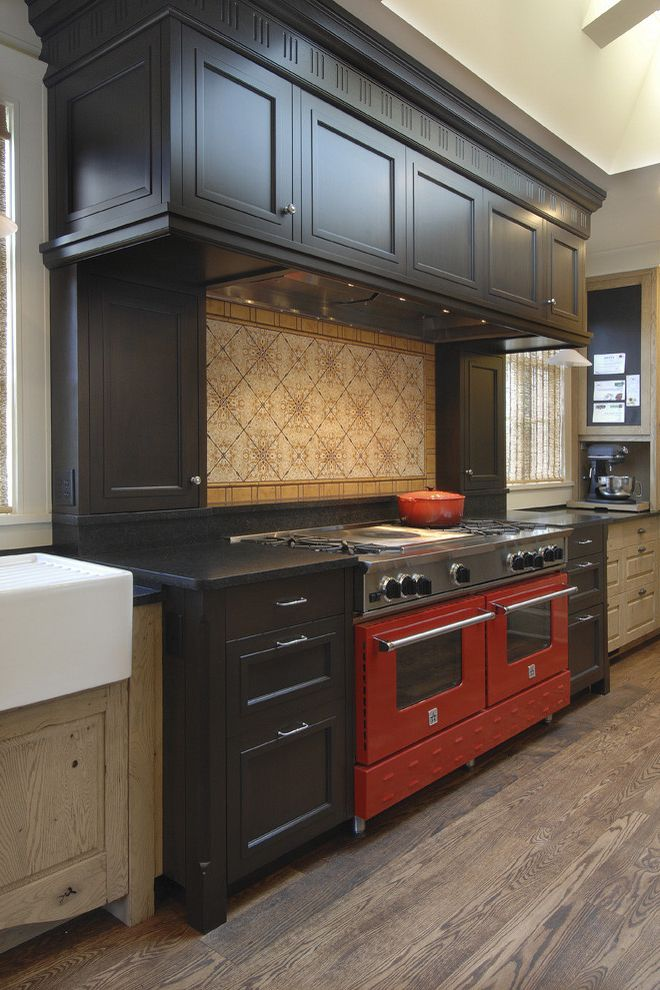 Shallow Depth Cabinets   Traditional Kitchen Also Kitchen Hardware Range Hood Red Range Two Tone Cabinets Wood Cabinets Wood Flooring