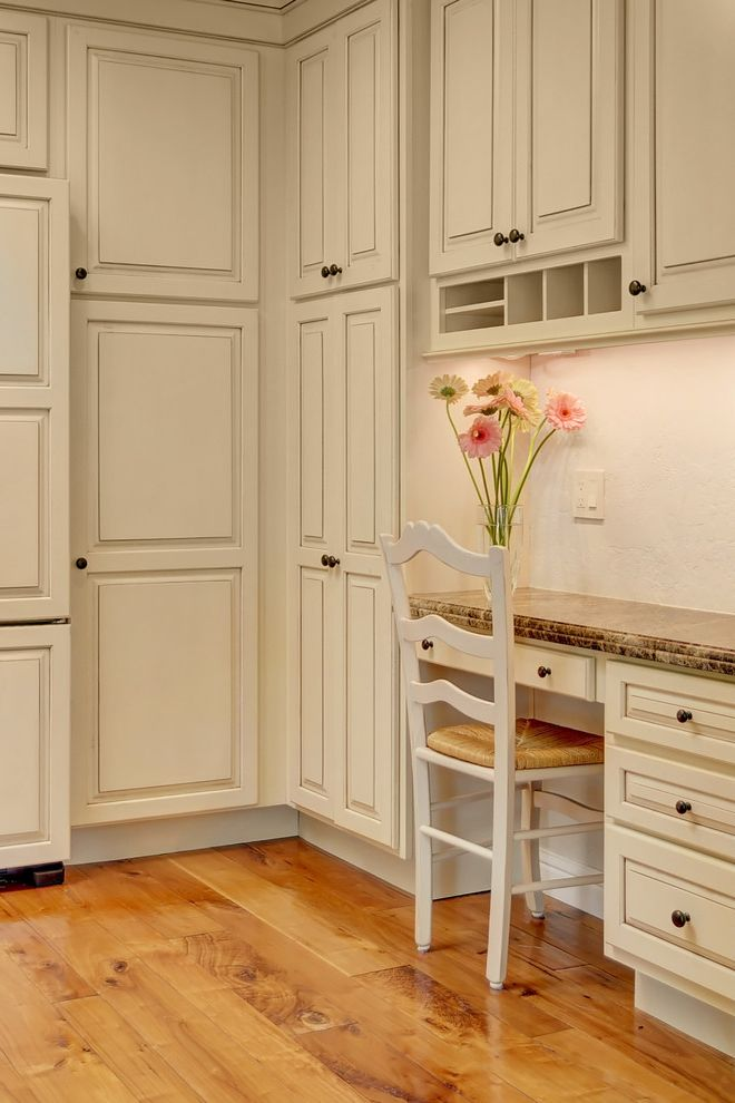 Shallow Depth Cabinets with Traditional Kitchen Also Beige Cabinets Beige Desk Chair Beige Drawers Beige Kitchen Desk Beige Wall Built in Desk Built in Kitchen Desk Kitchen Desk Pink Flowers Wood Floor Yellow Flowers
