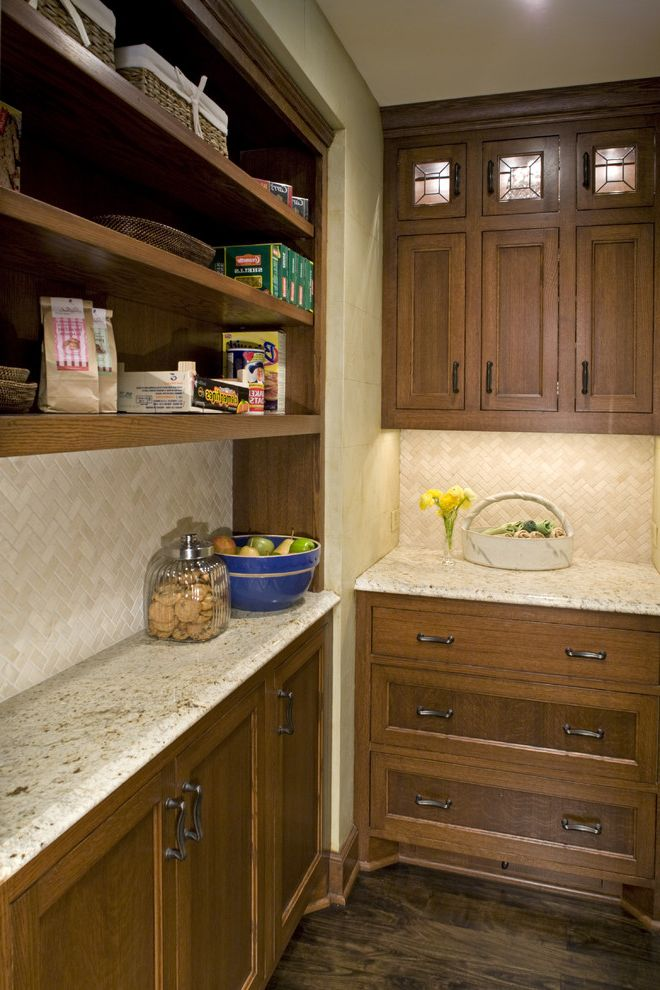 Shallow Depth Cabinets with Traditional Kitchen Also Beige Custom Woodwork Glass Inserts Granite Lighted Cabinets Open Shelving Pantry Tile Backsplash Walnut Floors Wood Cabinets