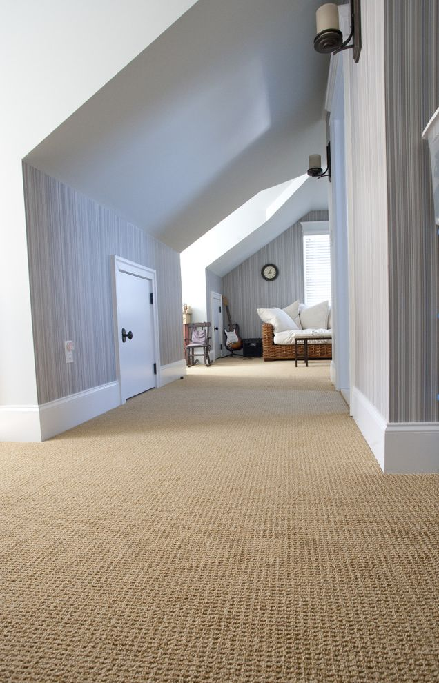Shaw Carpet Reviews   Contemporary Hall  and Attic Baseboards Beige Carpet Candles Dormer Windows Knee Wall Loft Neutral Colors Rattan Furniture Sconce Sloped Ceiling Stripes Textured Carpet Wall Lighting Wallcoverings Wallpaper White Wood Wood Trim