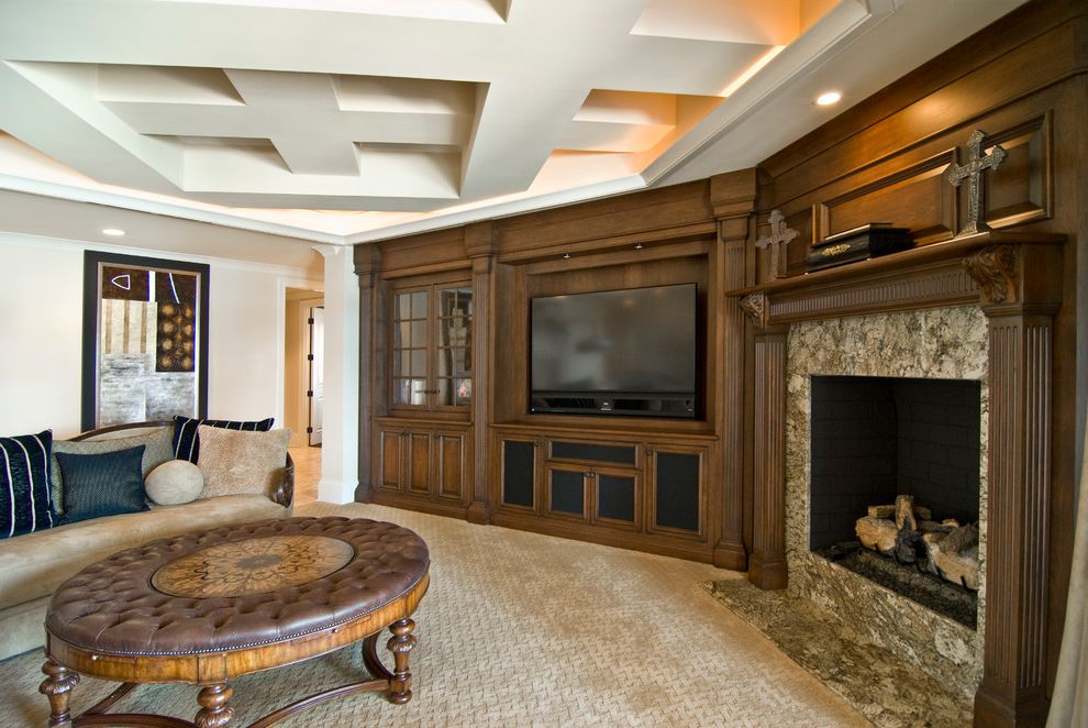 Shaw Carpet Reviews with Mediterranean Family Room  and Carpeting Coffered Ceiling Dark Stained Wood Fluted Wood Marble Fireplace Surround Ottoman Tv