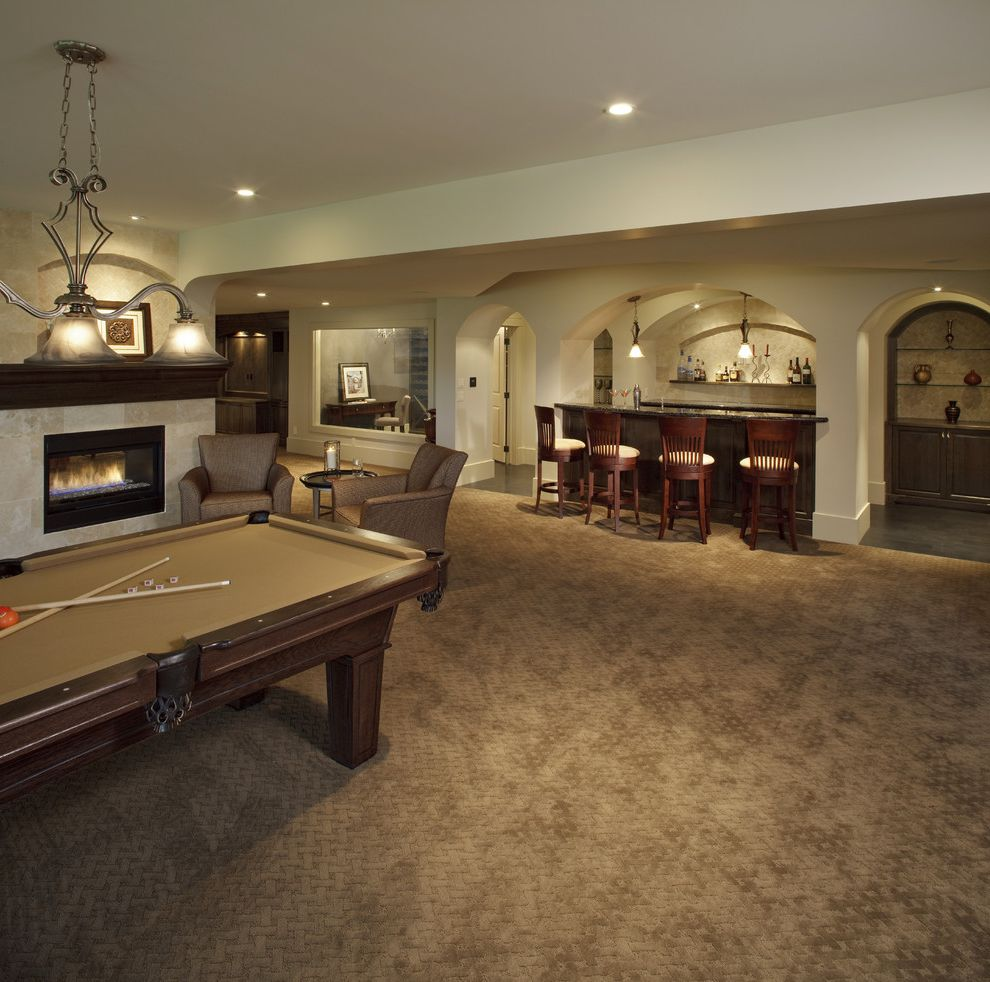 Shaw Carpet Reviews with Traditional Basement  and Alberta Bar Calgary Fireplace Games Room Interior Designers Kitchen and Bath Designers Pool Table