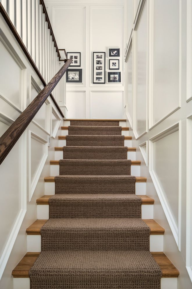 Shaw Carpet Reviews with Traditional Staircase  and Black and White Photography Brown Runner Recessed Panel Rug Stair Runner Straight Run Staircase Straight Run Stairs Wainscoting White Risers Wood Banister Wood Tread