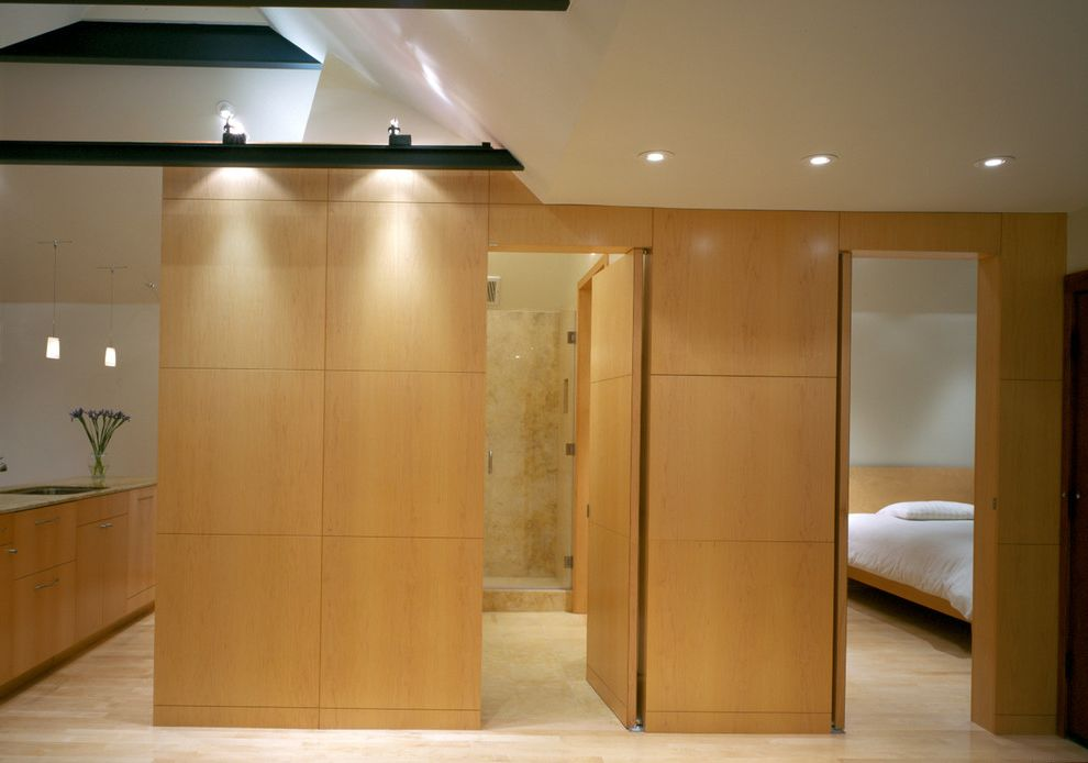 Sheetrock Installation Cost with Contemporary Hall Also Ceiling Lighting Minimal Neutral Colors Open Floor Plan Recessed Lighting Wall Lighting Wood Paneling