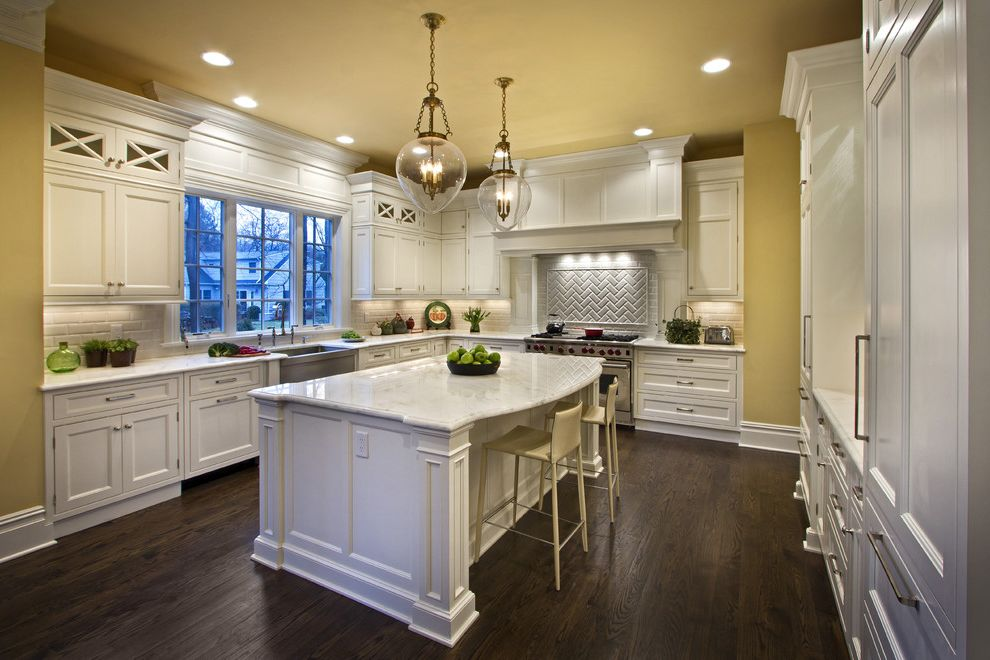 Shen Counters   Traditional Kitchen Also Baseboards Ceiling Lighting Crown Molding Eat in Kitchen Glass Pendants Kitchen Island Kitchens Nj Painted Ceiling Recessed Lighting Undercabinet Lighting White Counters White Trim Yellow Walls