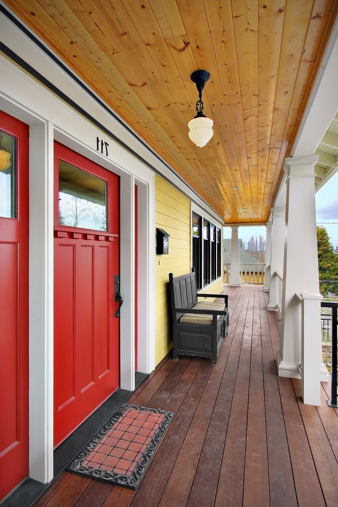 Sheridan Lumber with Craftsman Porch  and Ceiling Lighting Craftsman Style Deck Doormat Entrance Entry Entry Bench Front Door House Numbers Outdoor Lighting Red Door Sconce White Wood Wood Ceiling Wood Columns Wood Molding Wood Siding Wrap Around Porch
