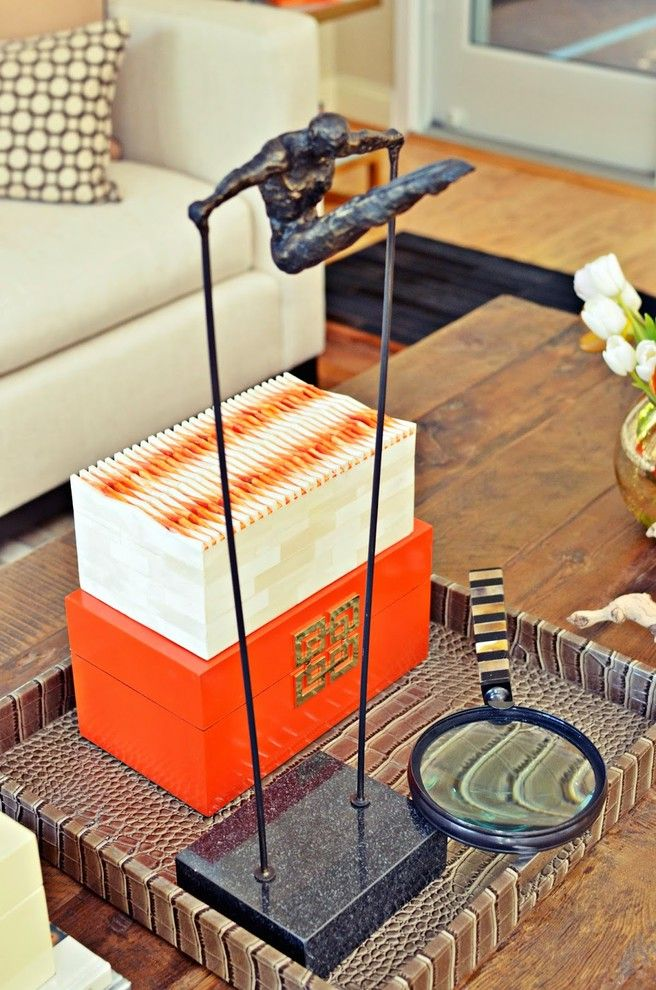 Sheridan Lumber with Transitional Spaces Also Alligator Skin Diver Horn Magnify Glass Orange Snakeskin Tray Tray Styling Vignette