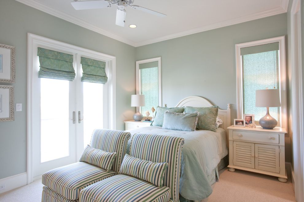 Sherwin Williams Paint Samples with Traditional Bedroom Also Beige Carpet Camelback Headboard Light Green Bedding Pale Green Walls Pastel Green Roman Shade Striped Chair White Headboard White Nightstand Window Treatment