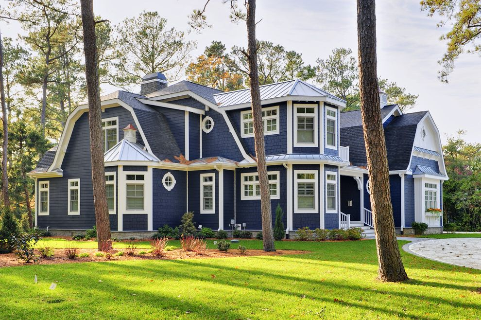 Sherwin Williams Portland   Beach Style Exterior  and Bay Window Circular Driveway Gambrel Roof Grass Grove Lawn Metal Roof Standing Seam Roof Turf White Trim