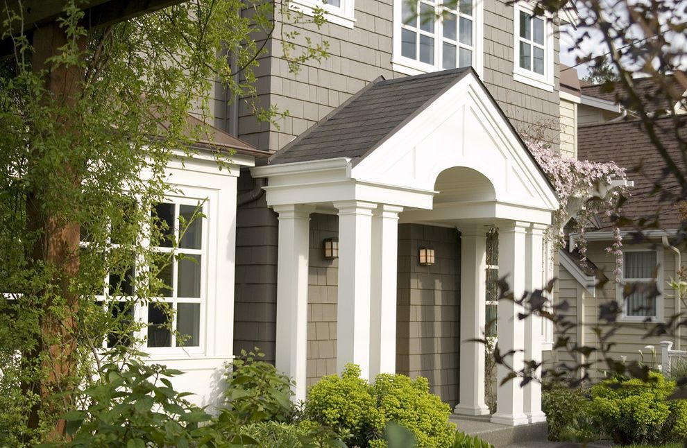 Sherwin Williams Portland   Traditional Entry  and Arbor Bay Window Brick Front Cape Cod Style Columns Entrance Entry Lanterns Neutral Colors Outdoor Lighting Portico Shingle Siding White Wood Wood Trim