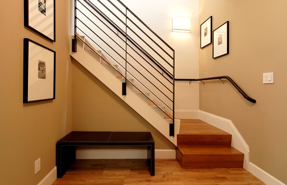 Sherwin Williams San Antonio Tx with Contemporary Staircase  and Art Bench Custom Railing Hardwood Floors Leather Bench Metal Railing Modern Railing Sconce Stainless Steel Tan Wall Wall Art Wall Decor Wall Lighting Wood Wood Flooring Wood Stairs