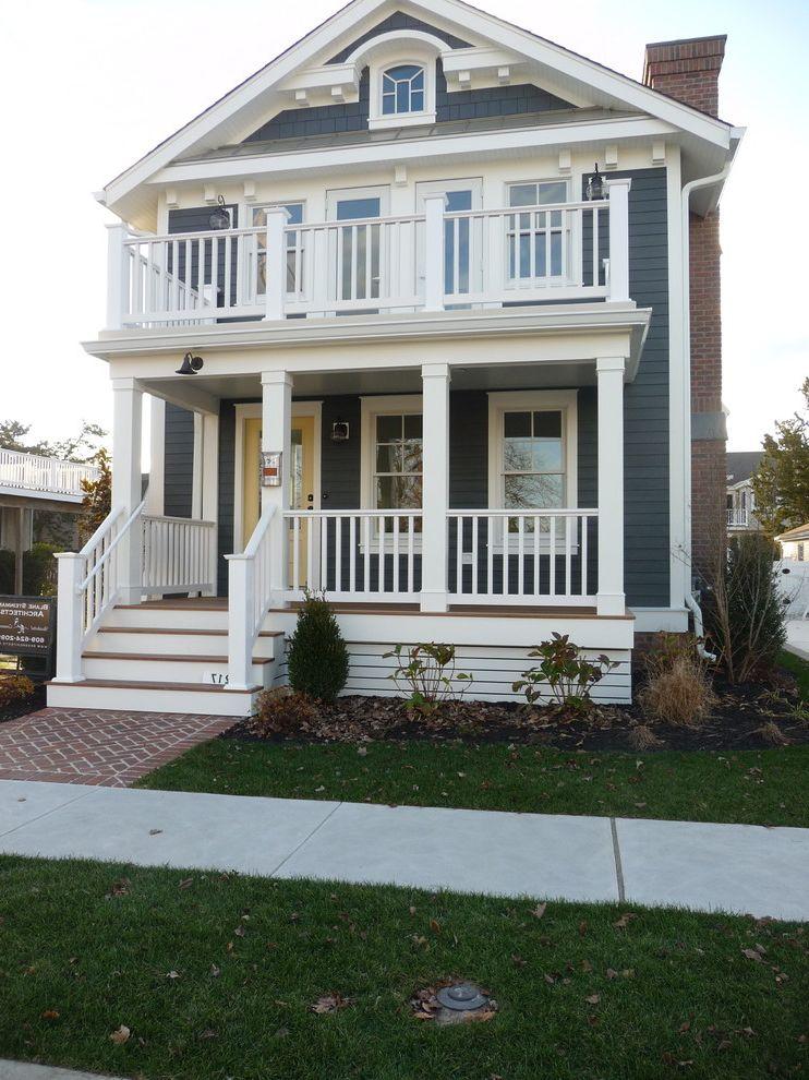 Sherwinn Williams   Beach Style Exterior  and Beach Brick Walkway Cottage Deck Epay Deck Exterior Gray Siding James Hardie White Trim Yellow Door