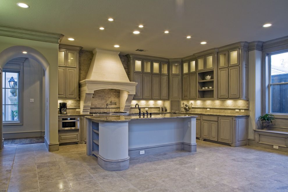 Sherwinn Williams   Mediterranean Kitchen  and Arched Entry Kitchen Floor Tiles Kitchen Island Open Shelving Range Hoods Traditional Kitchen