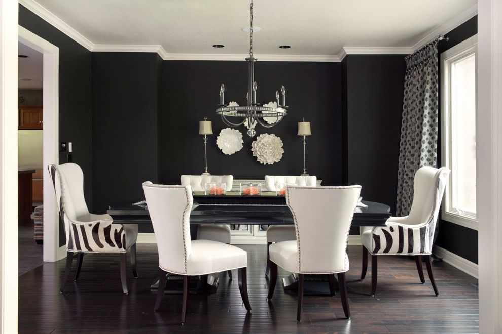 Sherwinn Williams   Transitional Dining Room Also Black and White Black Dining Table Black Table Black Wall Chandelier Dark Wood Floor Ding Chair Dramatic Wall Plates White Chair White Molding White Trim Window Treatment Zebra Print