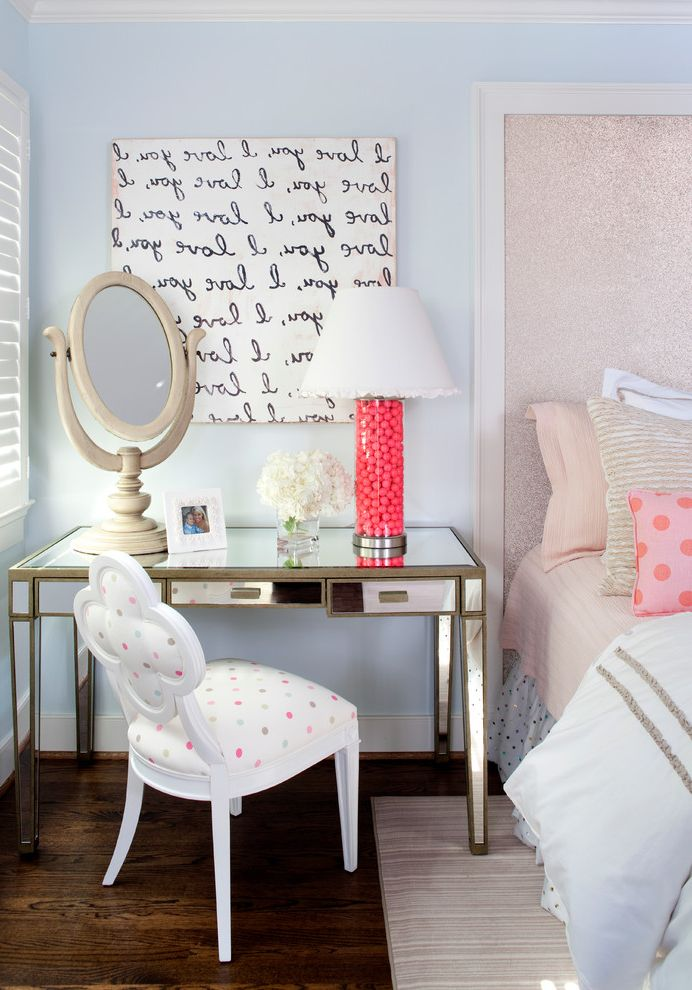 Shop Insinkerator Com with Eclectic Bedroom  and Area Rug Artwork Bed Skirt Kristin Peake Interiors Lamp Shade Light Blue Makeup Mirror Mirrored Table Polka Dots Shutters Table Mirror Upholstered Headboard Wood Floor