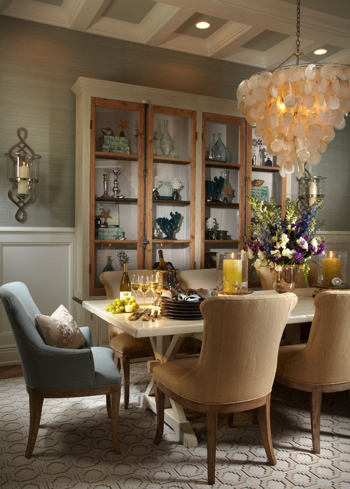 Shopcandelabra   Tropical Dining Room  and Carpet Centerpiece Chairs Chandelier China Cabinet Coffered Ceiling Dining Chairs Dining Table Display Cabinet Floral Arrangements Shell Chandelier Table Wall Sconce Wallpaper