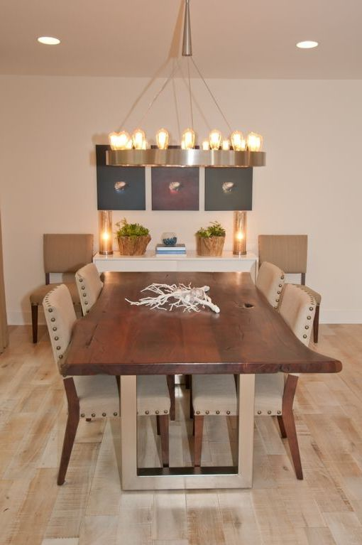 Shopcandelabra with Contemporary Dining Room Also Dining Table Mercury Glass Nailhead Trim Nest Paintings Robert Abbey Lighting Stainless Steel Legs Succulents Texas Trent Tate Art White Oak Wood Floor