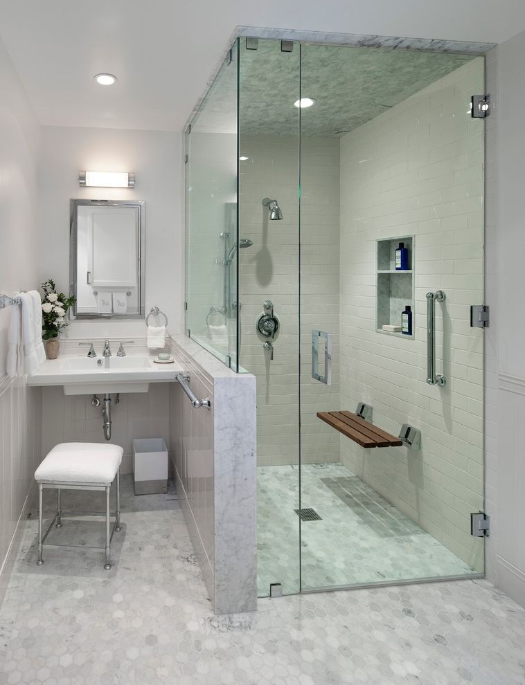 Shower Benches for Disabled   Transitional Bathroom  and Flip Down Shower Bench Hex Tile Hexagon Tile Recessed Lighting Rectangular Mirror Wall Sconce White Stool