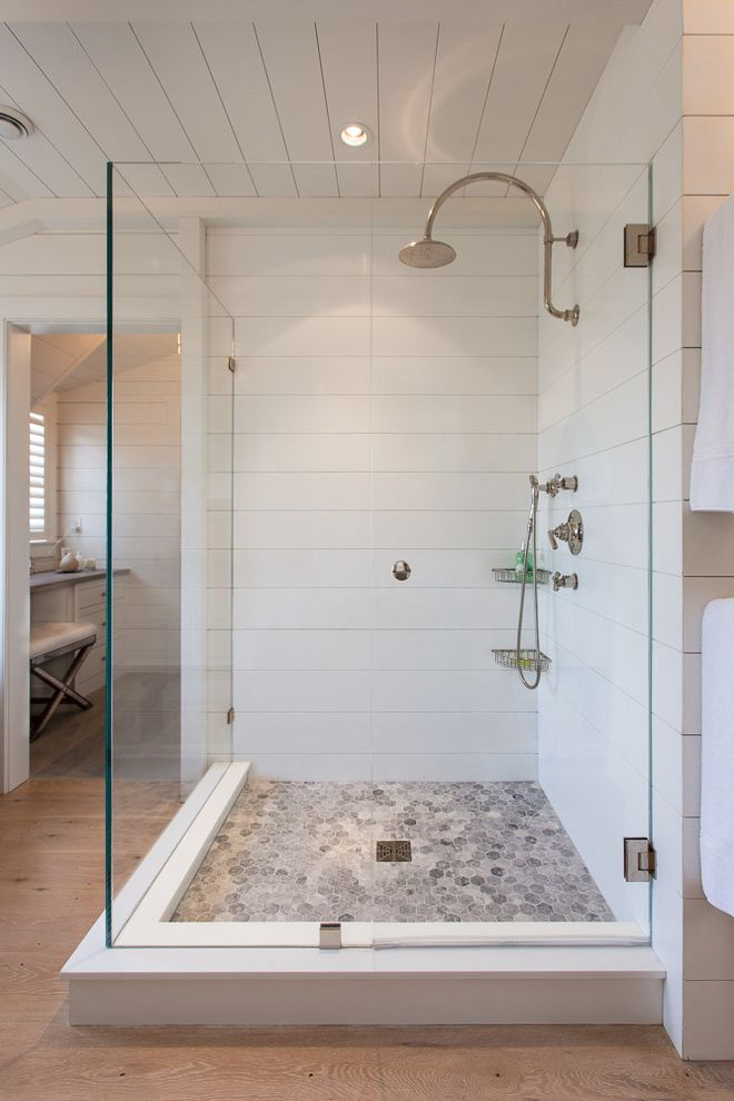 Shower Body Home Depot with Beach Style Bathroom  and Beach Cottage Contempory Interior Corner Shower Custom Shower Dressing Table Frameless Glass Shower Glass Enclosed Shower Mosaic Floor Tile Nantucket Nantucket Style Shiplap Style Corian