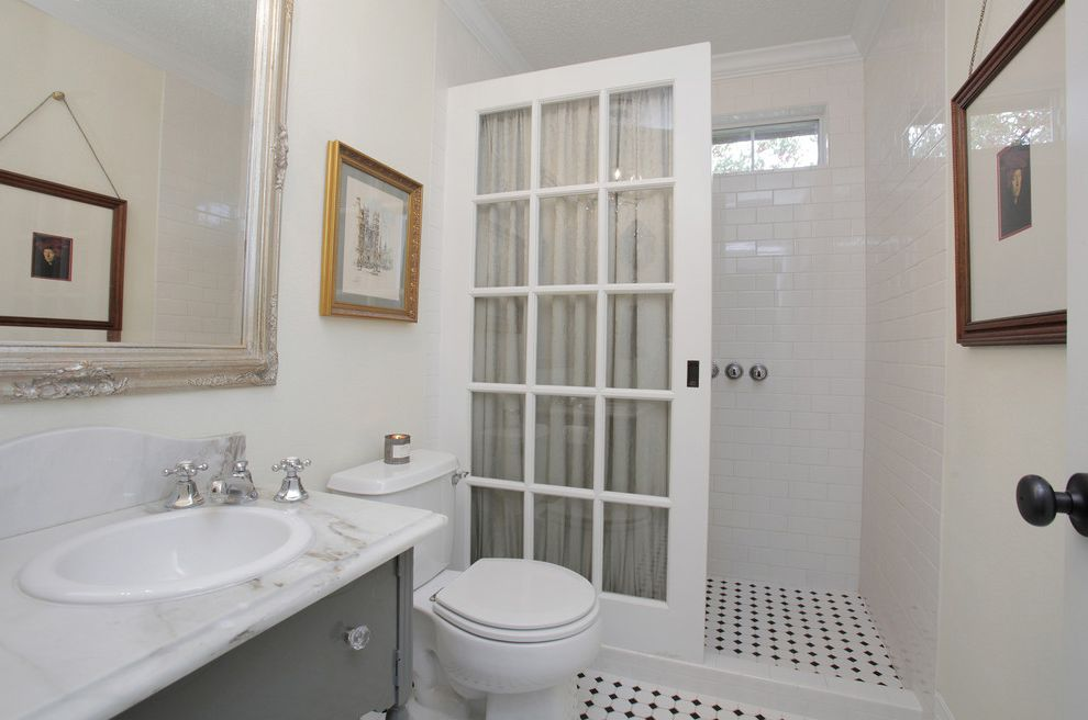Shower Door Alternative with Eclectic Bathroom  and Architectural Salvage Farm Vintage