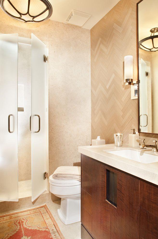 Shower Door Weather Strip   Contemporary Bathroom  and Ceiling Light Herringbone Modern Vanity Pendant Light Recessed Lighting Rug Sconce Stone Counter Translucent Undermount Sink Wood Vanity