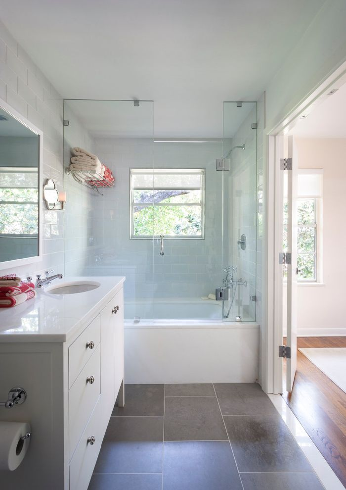 Shower Door Weather Strip with Traditional Bathroom  and Bathroom Lighting Dark Floor Ensuite Frameless Shower Door Freestanding Vanity Glass Tile Hotel Rack Shower Tub Shower Window Tile Floor Towel Storage White Vanity