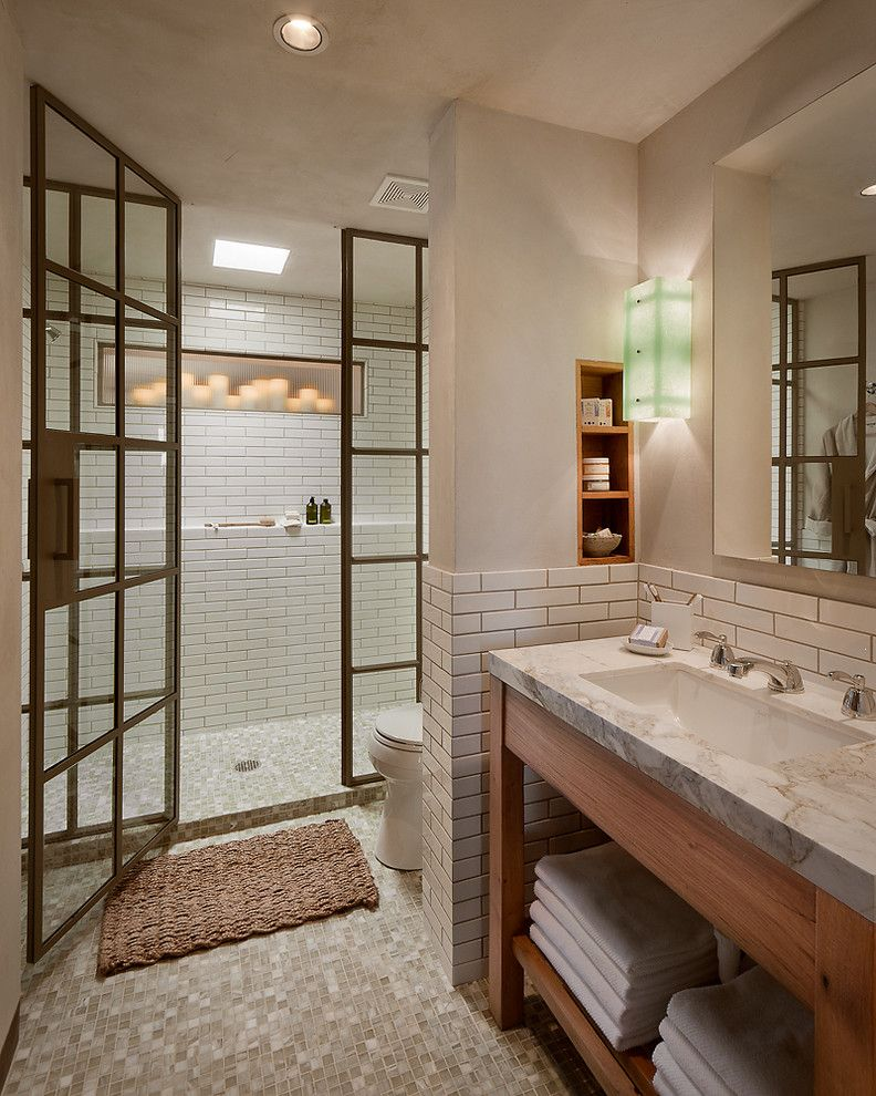 Shower Doors of Austin with Rustic Bathroom  and Steel Shower Enclosure