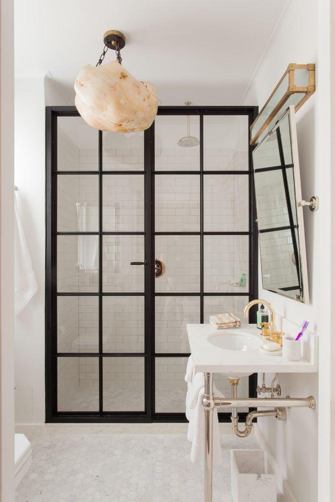 Shower Doors of Austin with Transitional Bathroom Also Black Trim Center Pivot Mirror Glass Doors Hand Painted Cabinets Herringbone Marble Hexagon Floor Tile La Cornue Marble Backsplash Steel Shower Door