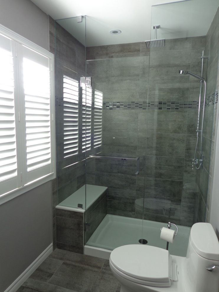 Shower Pan with Bench with Contemporary Bathroom Also Bathroom Reno Dark Vanity Frosted Glass Glass Doors on Shower Grey Tile Seat in Shower Shutters in Bathroom Walk in Shower