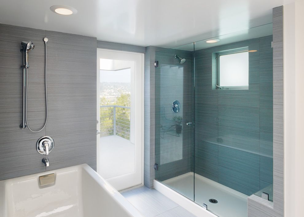 Shower Pan with Bench with Contemporary Bathroom  and Blue Glass Deck Exterior Door Frameless Shower Door Glass Door Handshower Recessed Lighting Two Showers Walkout