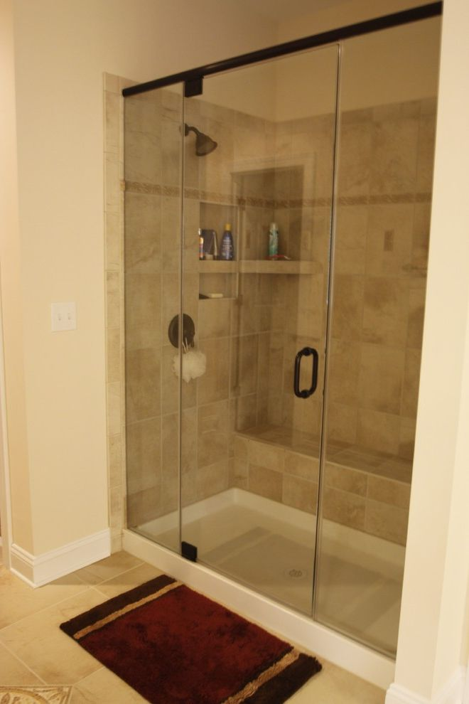 Shower Pan with Bench with Traditional Bathroom  and Traditional