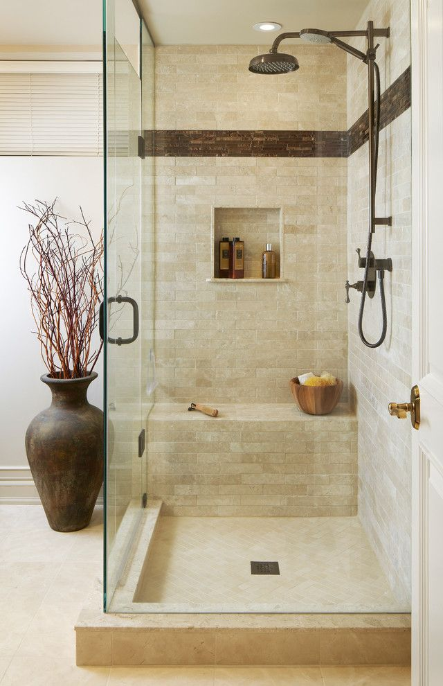 Shower Pan with Bench with Transitional Bathroom  and Beach Style Beige Tile Bronze Bronze Hardware Brown Accent Color Brown Shower Fixtures Decorative Vase Glass Shower Doors Rain Head Shower Bench Travertine Tuscan Urn and Vase