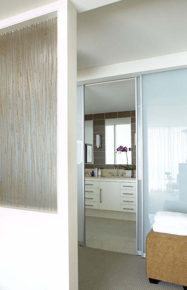 Sidelight Glass Panels Modern Bathroom And Neutral Colors Resin Sliding  Doors Translucent Doors White Wood Wood