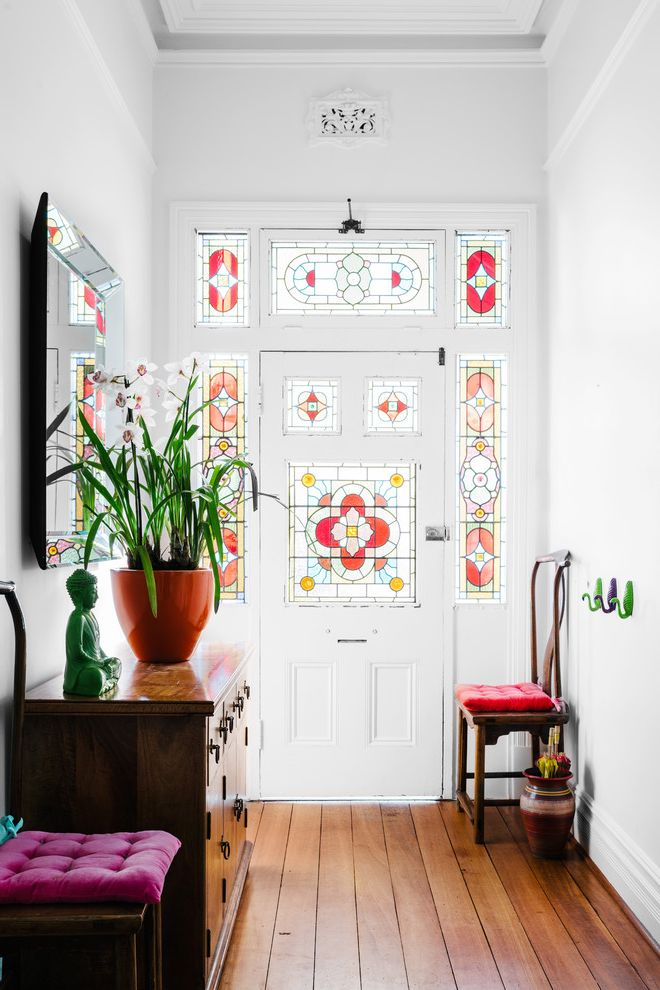 Sidelight Glass Panels   Victorian Entry Also Boho Eclectic Family Home Side Lights Stained Glass Stained Glass Transom Window Transom Window