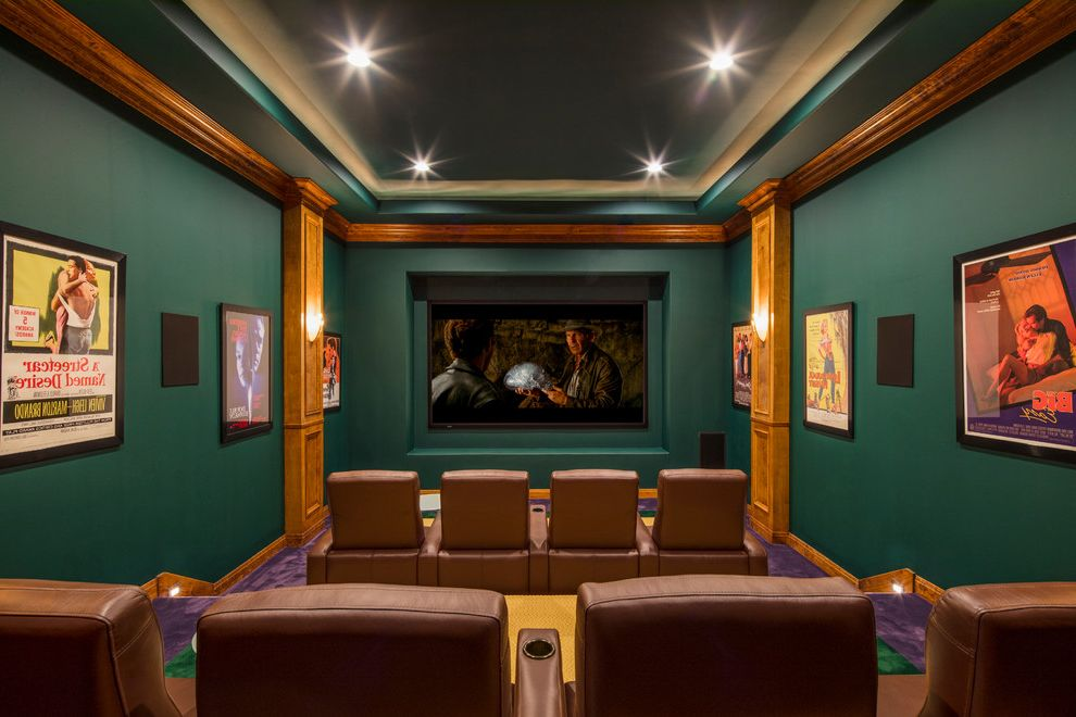 Sierra Vista Theater   Traditional Home Theater  and Austin Green Walls Medium Wood Accents Purple Carpet Recessed Lighitng Texas Hill Country Theater Room Theater Seating Tray Ceiling