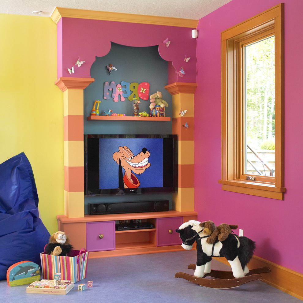 Sierra Vista Theater with Eclectic Kids  and Baseboards Bold Colors Colorful Crown Molding Orange Trim Pink Walls Playroom Toy Storage Wall Letters Yellow Wall