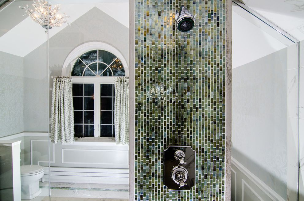 Sigma Faucets   Traditional Bathroom  and Custom Steam Shower Glass Tile Master Bath Sigma Faucets Traditional
