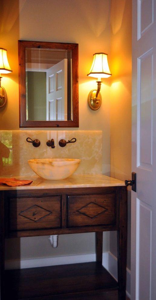 Sigma Faucets   Traditional Powder Room Also Bathroom Guest Bath Half Bath Honey Onyx Reclaimed Vanity Small Vessel Sink Wall Sconces Wood Vanity