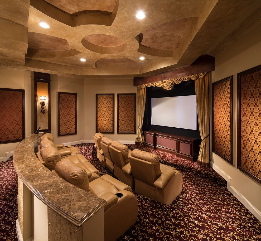 Signature Theater Kalispell   Mediterranean Home Theater  and Home Automation Home Theater Patterned Carpet Recessed Lighting Wall Paneling Wall Sconces