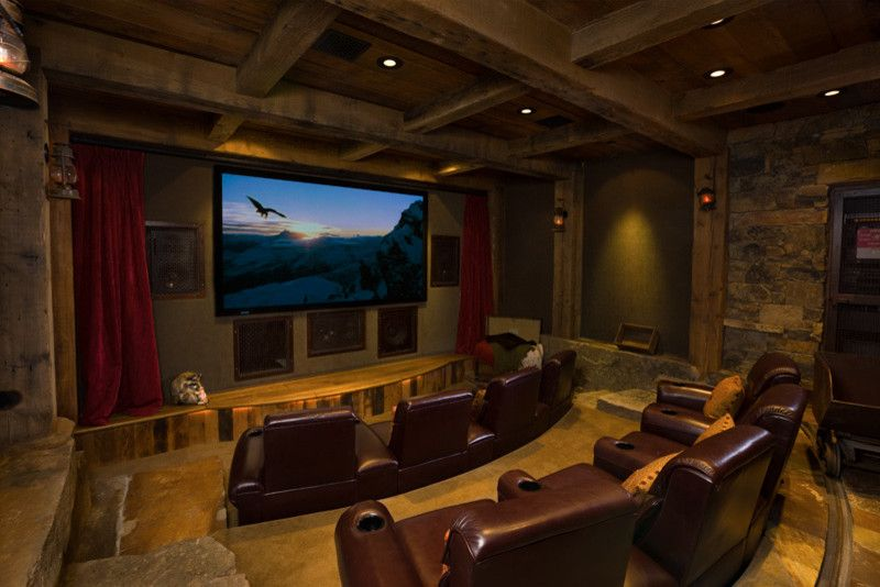 Signature Theater Kalispell with Eclectic Home Theater Also Home Theater Masonry Rustic Elegance Stone Timber Accents