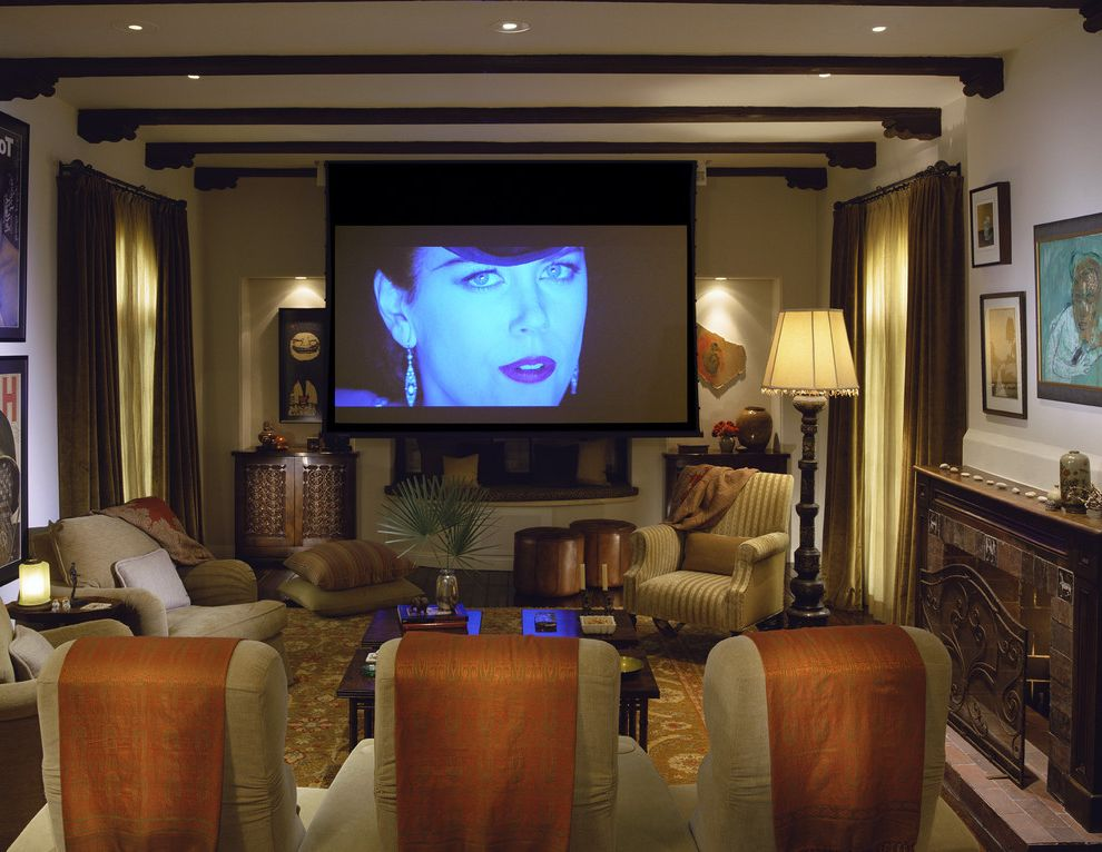Signature Theaters   Mediterranean Home Theater Also Ceiling Lighting Earth Tone Colors Exposed Beams Floor Cushions Home Theater Natural Accents Neutral Colors Projection Screen Recessed Lighting Screening Room Wall Decor