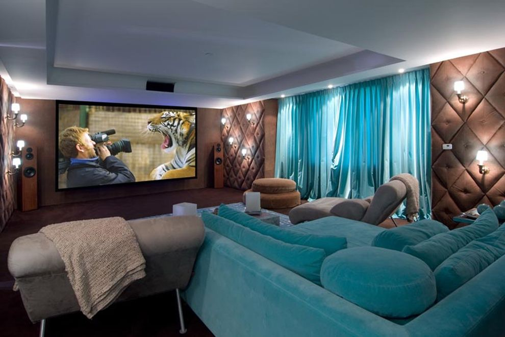 Simi Valley Theater with Contemporary Home Theater  and Armchair Curtain Cushioned Wall Home Theater Ottoman Projector Sconce Sound Proof Turquoise Velvet Couch Velvet Sofa