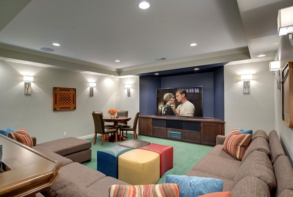 Simi Valley Theater with Transitional Basement Also Big Screen Checkerboard Chessboard Family Room Game Room Game Table Great Gatsby Green Carpet Light Brown Sectional Sofa Multi Color Cube Ottoman Recessed Lighting Sconces Tray Ceiling
