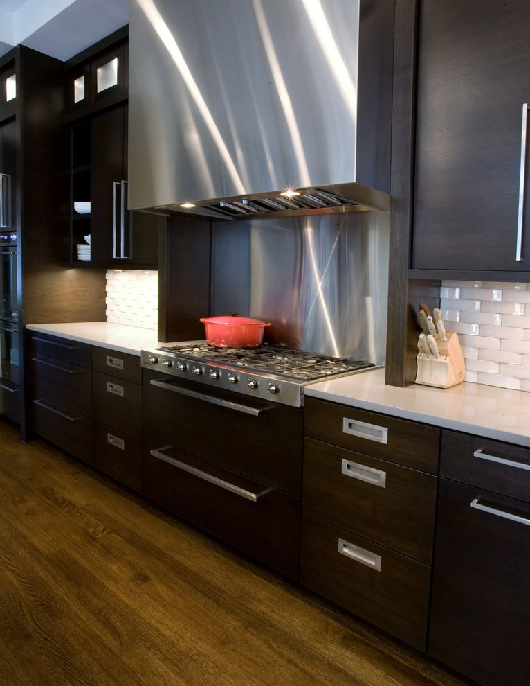 Simons Hardware   Contemporary Kitchen Also Backsplash Contemporary Dark Stained Cabinets Modern Stainless Tile White Wood Floor