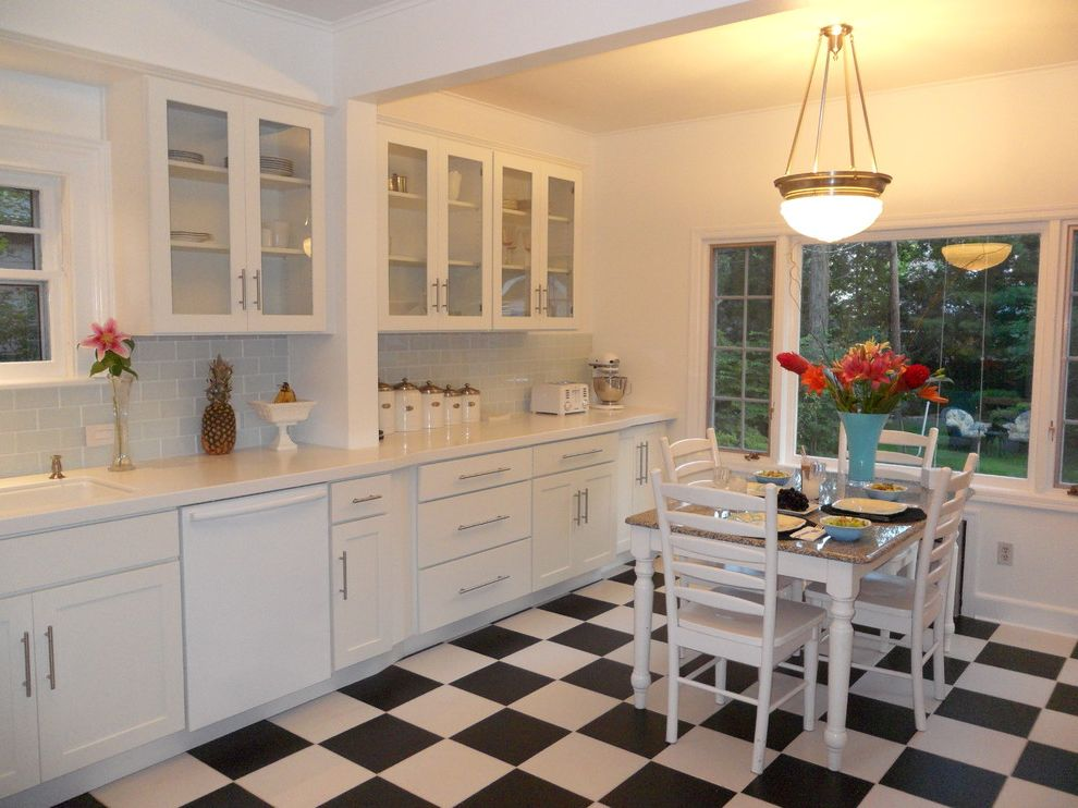 Simons Hardware   Contemporary Kitchen  and Checked Flooring Checkered Flooring Dine in Kitchen Glass Doors Mullion Doors Open Shelving Prepped for Glass Prepped for Insert Stainless Stainless Hardware White Cabinets White Kitchen White Kitchen Cabinets