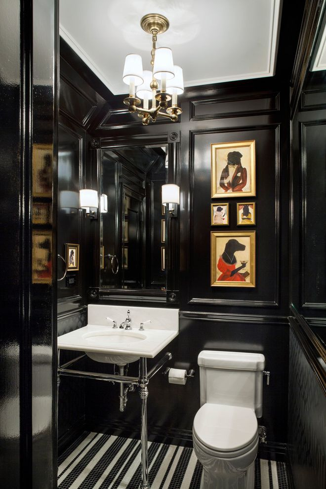 Simons Hardware   Traditional Powder Room  and Black and White Tile Black Glossy Paint Cloakroom Downstairs Toilet Mosaic Floor Tile Paneled Walls Small Bathroom