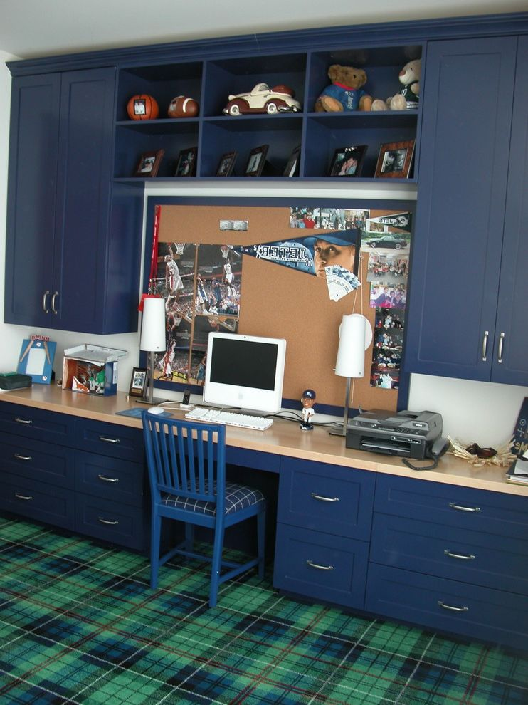 Simons Hardware with Traditional Kids  and Blue Built in Desk Built in Storage Bulletin Board Cubbies Memo Board Plaid Carpet Wood Desk Work Space