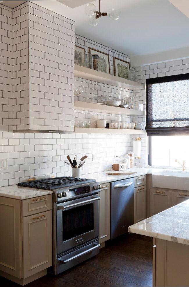 Simons Hardware with Transitional Kitchen Also Apron Sink Custom Hood Dark Stained Wood Floor Open Shelving Paper Towel Holder Pendant Light Sheer Roman Shade Subway Tiles