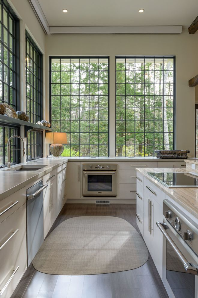 Simonton Windows Reviews   Transitional Kitchen Also Bar Pulls Large Windows Natural Light Tall Ceilings