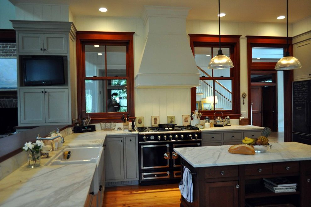 Simonton Windows Reviews with Traditional Kitchen  and Cherry Wood Dark Window Frames Farmhouse Sink Gray La Cornue Marble Counters Oven Stove Pendant Light Range Television Tv Window Trim Windows